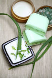 Aloe vera leaves, handmade soap and bath salt Royalty Free Stock Images