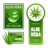 Aloe Vera Leaves Label Banners Set Stock Photography