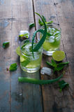Aloe vera and lime cocktail with mint and ice cubes Stock Images