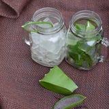 Aloe vera, miele per cura di pelle Immagini Stock