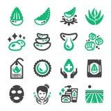 Aloe vera och produktsymbolsuppsättning royaltyfri illustrationer