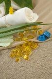 Aloe vera oil softgels Royalty Free Stock Photos