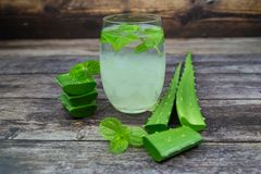 Aloe vera  the plant that yields aloe vera, products including beverages. Skin lotion, cosmetics, or ointments for minor burns and sunburns stock photo