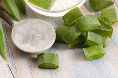 Aloe Vera-Saft mit frischen Blättern lizenzfreies stockfoto
