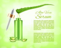 Aloe vera serum. And collagen vitamin. Skin care concept. Design for ads or magazine. 3d illustration. EPS10 vector Stock Image