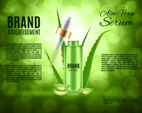 Aloe vera serum and collagen vitamin. Skin care concept. Design for ads or magazine. 3d illustration. EPS10 vector Stock Photos