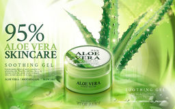 Aloe vera skin care. Aloe vera soothing gel, contained in green jar, with aloe and magical light elements, 3d illustration Stock Images