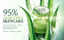 Aloe vera skin care. Aloe vera soothing gel, contained in green jar, with aloe and water splash elements, 3d illustration Royalty Free Stock Image