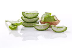 Aloe Vera slice natural spas ingredients for skin care . Aloe Vera slice natural spas ingredients for skin care isolated on a white background Stock Photos