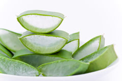 Aloe Vera slices in a dish Stock Image