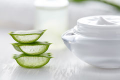 Aloe vera slices healthy natural cosmetic product with cream Stock Photography