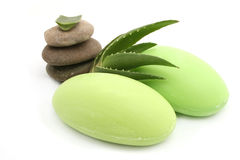 Aloe vera soap Royalty Free Stock Image