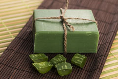 Aloe vera soap Stock Images