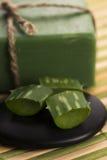 Aloe vera soap Royalty Free Stock Images
