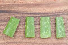 Aloe vera su legno Fotografia Stock
