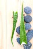 Aloe vera sugli ingredienti naturali delle stazioni termali di scena di trattamento della stazione termale delle pietre Fotografie Stock