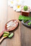 Aloe vera sul cucchiaio di legno Immagine Stock