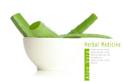 Aloe vera in white bowl Stock Photo
