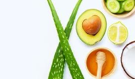 Aloe Vera, Zitrone, Gurke, Salz, Honig Nat?rliche Bestandteile f?r selbst gemachte Hautpflege auf Wei? stockbild