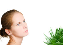 ALOE AND YOUNG WOMAN Stock Photo