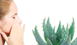 Aloe and young woman portrait Royalty Free Stock Photos