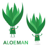 Aloecharaktere Karikatur-Aloe-Mann lokalisiert auf Weiß Auch im corel abgehobenen Betrag Lizenzfreies Stockbild