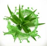 Aloefruktsaft, hälsa och omsorg D-vektorsymbol vektor illustrationer