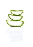 Aloevera-Blatt und -scheibe lokalisiert auf weißem Hintergrund Lizenzfreies Stockfoto