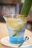 Aloevera dessert. Aloe-Vera cubes with herb jelly in syrup on a glass of ice royalty free stock photography
