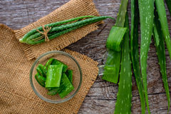 Aloevera fresh leaf on the wooden table,aloe vera on wooden tabl Stock Images
