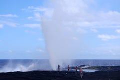 Alofaaga blowholes Royalty Free Stock Photo