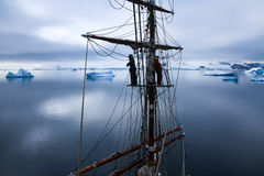 Aloft in a tallship, sailboat in Antarctica Stock Photography