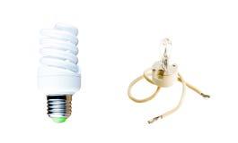 Alogeno e lampada fluorescente Immagini Stock Libere da Diritti
