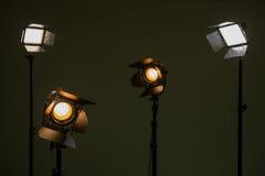 Alogeno e luci principali Riflettori con le lenti di Fresnel Fotografie Stock Libere da Diritti