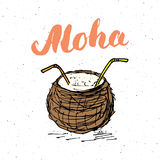 Aloha λέξης εγγραφής με συρμένο το χέρι σκίτσων σημάδι σχεδίου καρύδων τυπογραφικό, διανυσματική απεικόνιση Στοκ εικόνες με δικαίωμα ελεύθερης χρήσης