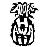 aloha Χαβάη Έμβλημα τυπογραφίας Απεικόνιση σκίτσων ανανά Αφίσα καλλιγραφίας Διανυσματική εγγραφή Στοκ εικόνες με δικαίωμα ελεύθερης χρήσης