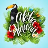 aloha Χαβάη Εγγραφή χεριών με τα εξωτικά λουλούδια Στοκ φωτογραφίες με δικαίωμα ελεύθερης χρήσης
