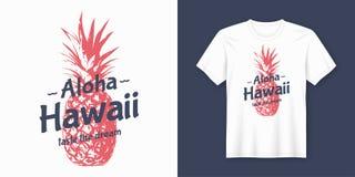 aloha Χαβάη Μοντέρνο σύγχρονο σχέδιο μπλουζών και ενδυμασίας με την καρφίτσα Στοκ Εικόνα