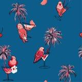 aloha картина Гавайских островов безшовная Пальмы руки вычерченные, коктейль, розовые попугаи птица, птицы лета на лете иллюстрация вектора