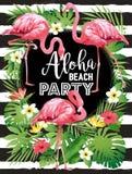 Aloha партия пляжа Vector иллюстрация тропических птиц, цветков, листьев Стоковое фото RF