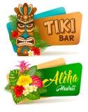 Aloha установленные знамена бара Tiki Стоковые Изображения