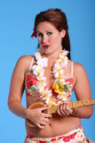 Aloha. Part of my aloha sereis. Woman with guitarin hula costume stock photography