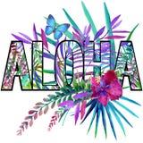 Aloha. Aloha Tee Shirt design. Tropical plants watercolor Royalty Free Stock Photos
