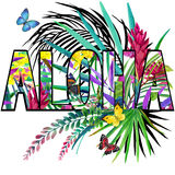 aloha Aloha trójnika Koszulowy projekt Tropikalnych rośliien akwarela ilustracji