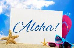 Aloha banner. On the beach Royalty Free Stock Image