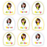 Aloha birthday cupcake topper with cute hawaiian girl on frame. Cartoon for birthday party cupcake topper and sticker set Stock Image