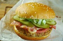 Aloha Burger. Aloha american Burger close up Royalty Free Stock Photo