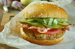 Aloha Burger. American sandwich close up Stock Images