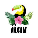 Aloha card design with exotic plants arrangement and toucan Stock Image