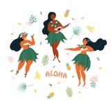aloha Cartel hawaiano de los días de fiesta con el bailarín de Hula stock de ilustración